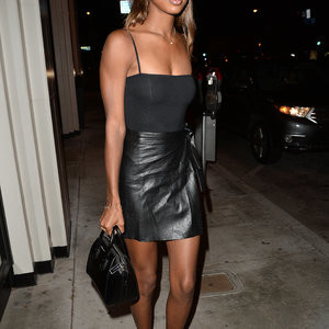 Jasmine Tookes Looks Sexy In A Leather Dress – Celeb Nudes