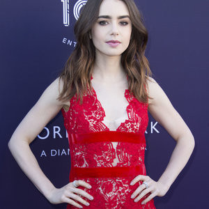Lily Collins Hot Naked Celeb sexy 006