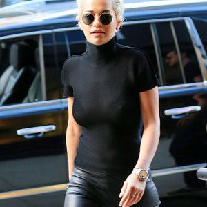 Rita Ora transparent black dress